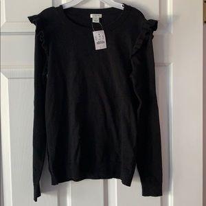 J Crew cotton black ruffle sweater
